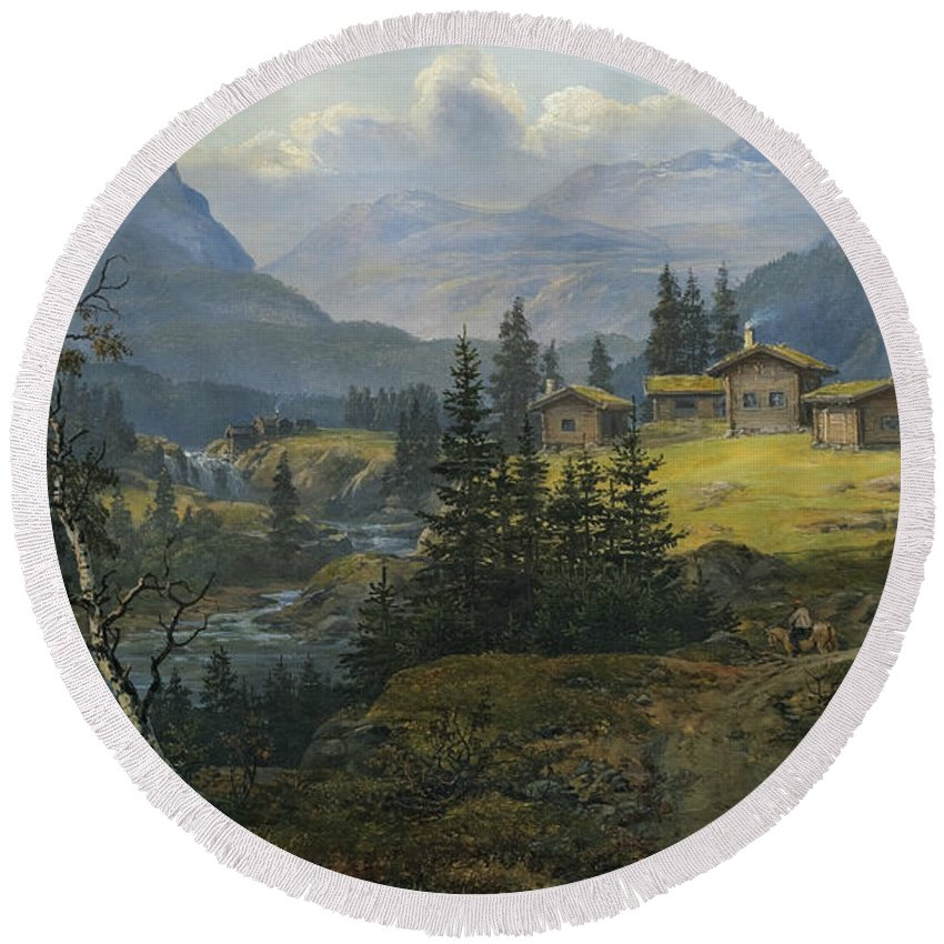 Johan Christian Dahl Round Beach Towel featuring the painting View Of Oylo Farm, Valdres by Johan Christian Dahl