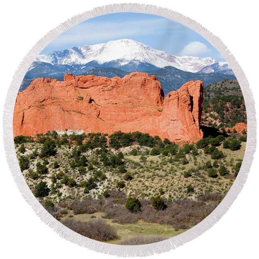 Pikes Peak Round Beach Towel featuring the photograph View Of Pikes Peak And Garden Of The Gods Park In Colorado Springs In Th by Steve Krull