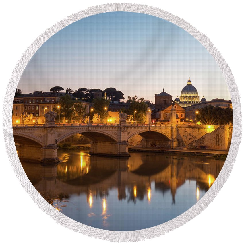 Rome Round Beach Towel featuring the photograph View Of Rome by Rob Davies