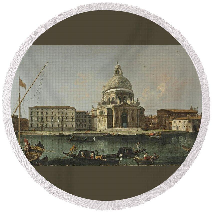 Francesco Albotto Round Beach Towel featuring the painting View Of Santa Maria Della Salute. Venice by Francesco Albotto