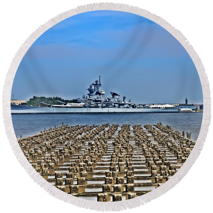 Battleship Round Beach Towel featuring the photograph View Of The Battleship New Jersey From Philadelphia by Bill Cannon