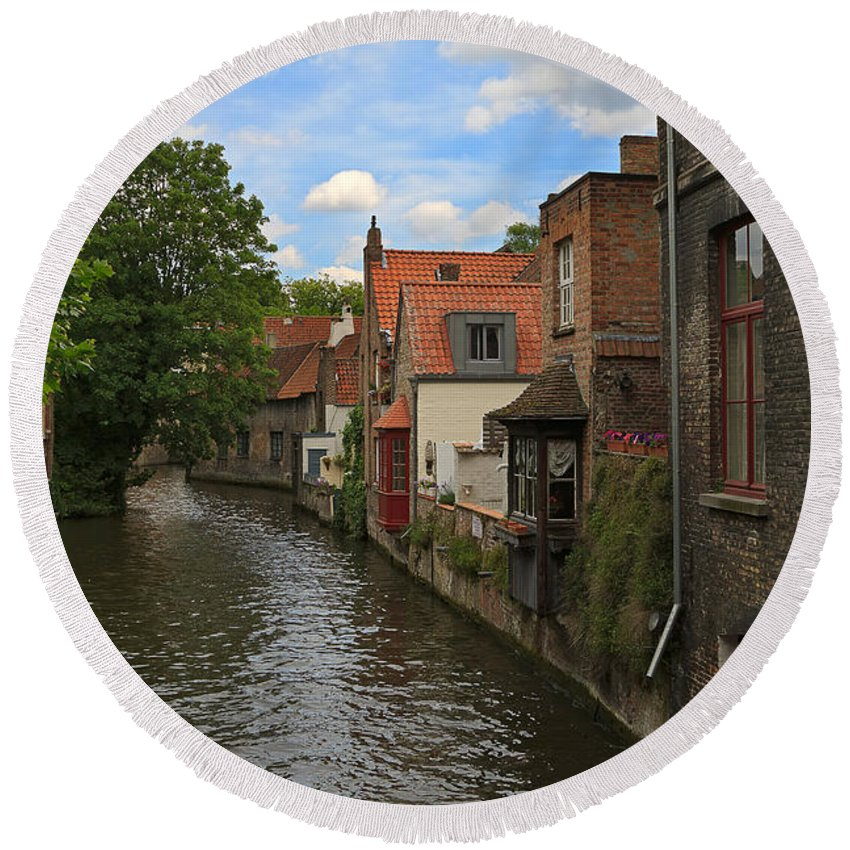 Canal Round Beach Towel featuring the photograph View Of The Canal From Maria Brug On Katelijnestraat In Bruges by Louise Heusinkveld