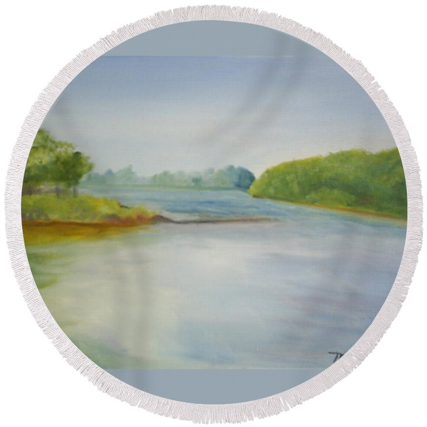 Delaware River Round Beach Towel featuring the painting View Of The Delaware by Sheila Mashaw