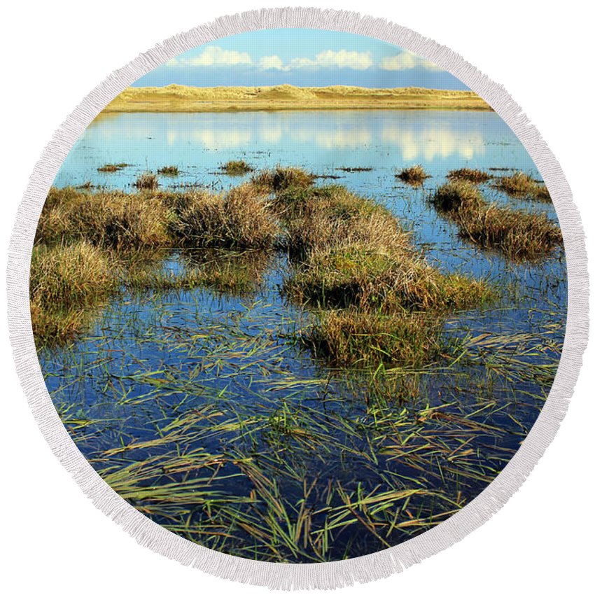 Marsh. Ireland Round Beach Towel featuring the photograph View Of The Marsh by Jennifer Robin
