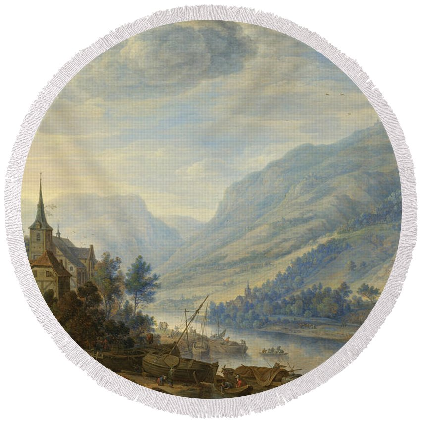 Herman Saftleven Round Beach Towel featuring the painting View Of The Rhine River Near Reineck by Herman Saftleven