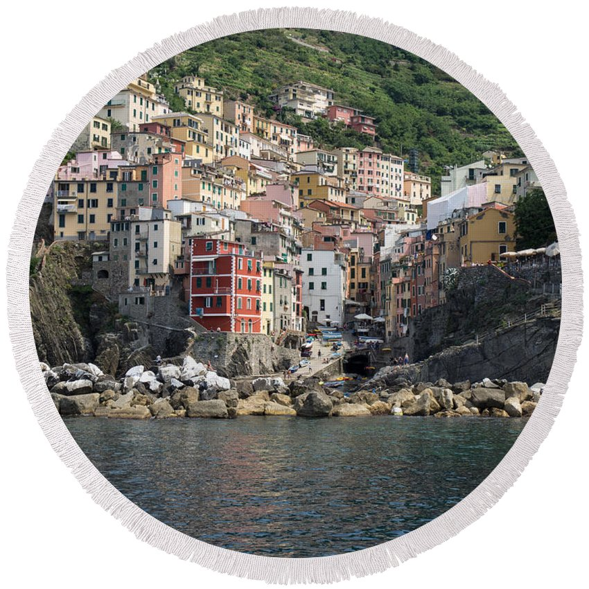 Photography Round Beach Towel featuring the photograph View Of The Riomaggiore, La Spezia by Panoramic Images