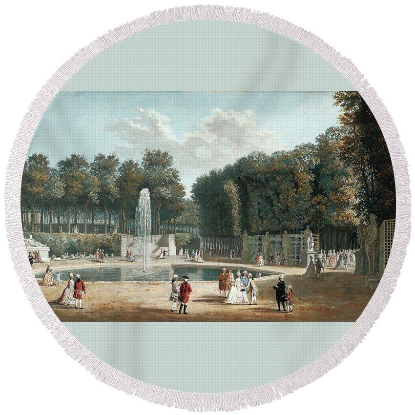 Nicolas PÉrignon; View Of The Tuileries Garden; Gouache; Inscribed Round Beach Towel featuring the painting View Of The Tuileries Garden by MotionAge Designs