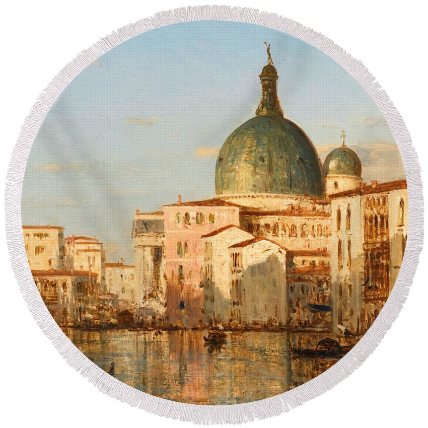 Felix Ziem Round Beach Towel featuring the painting View Of Venice With San Simeone Piccolo by Felix Ziem