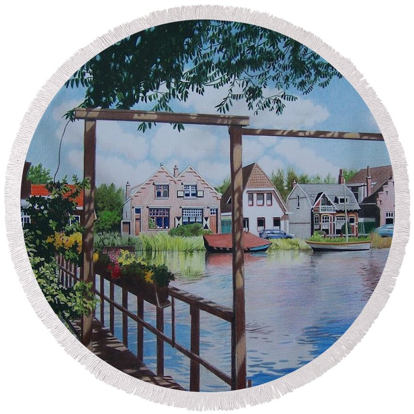 Landscape Round Beach Towel featuring the mixed media View On Hillegersberg by Constance Drescher
