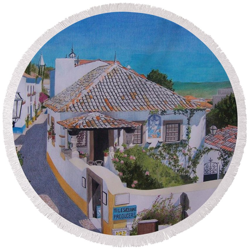 Green Round Beach Towel featuring the mixed media View On Obidos by Constance Drescher