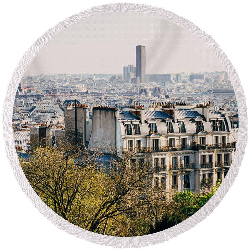 France Round Beach Towel featuring the photograph View On Paris by Pati Photography
