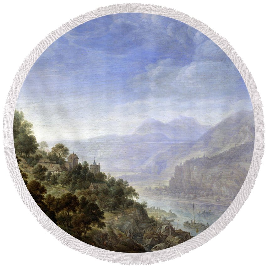 Herman Saftleven Round Beach Towel featuring the painting View On The Rhine by Herman Saftleven