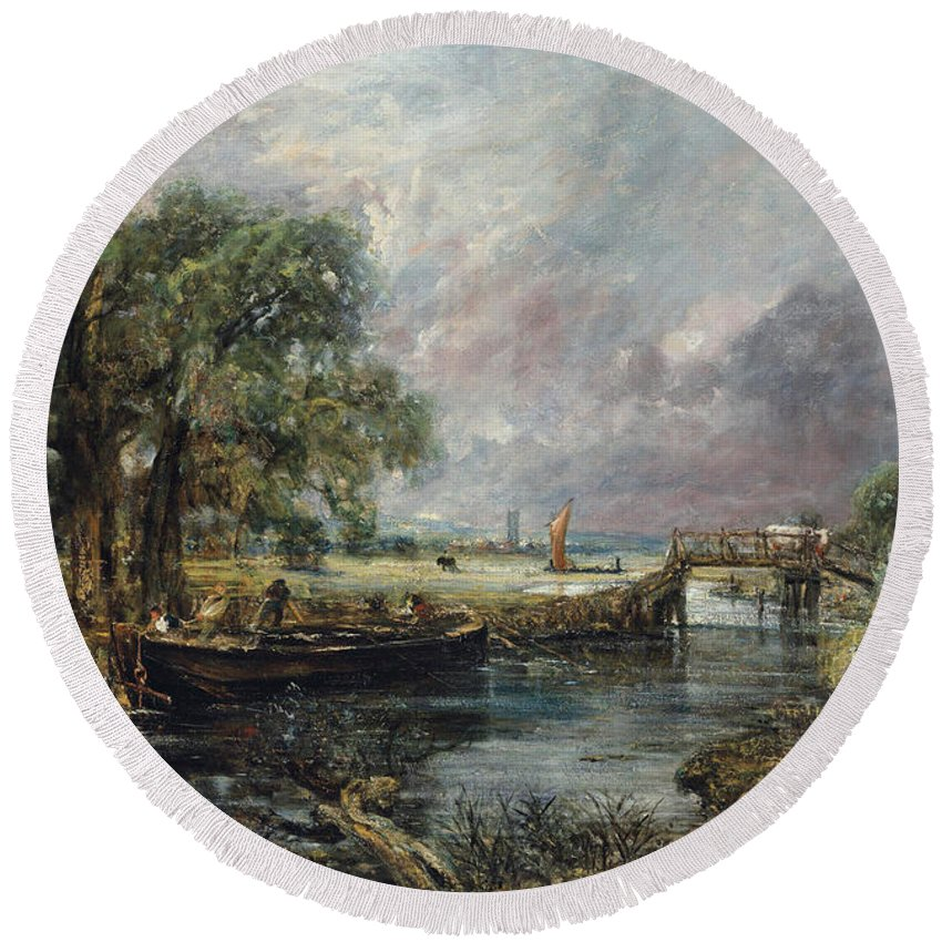 Constable Round Beach Towel featuring the painting View On The Stour Near Dedham by John Constable