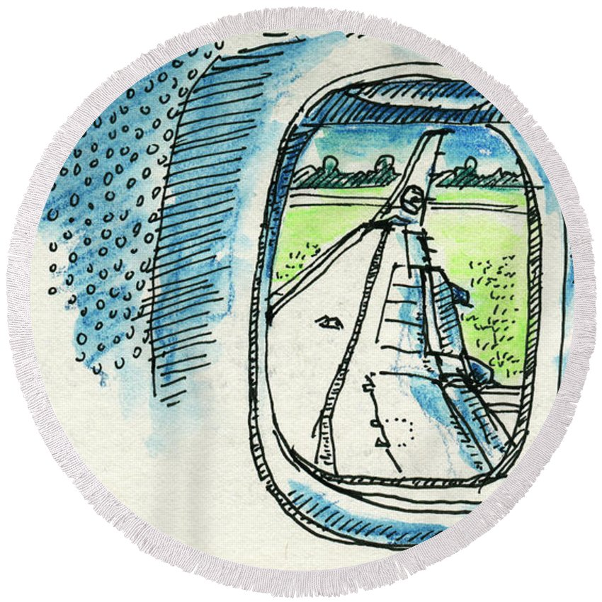 View Out Of Airplane Window Drawing Round Beach Towel For Sale By