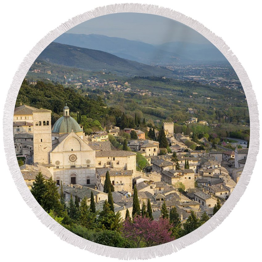 Above Round Beach Towel featuring the photograph View Over Assisi by Brian Jannsen