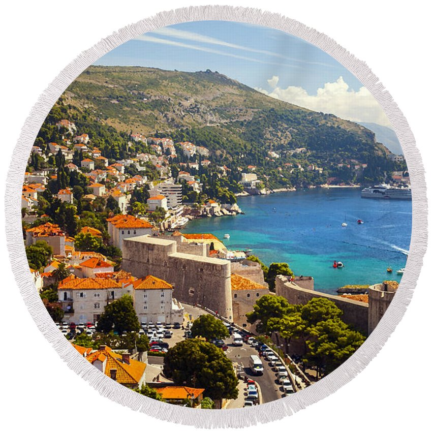 Adriatic Round Beach Towel featuring the photograph View Over Dubrovnik Coastline by Sandra Rugina