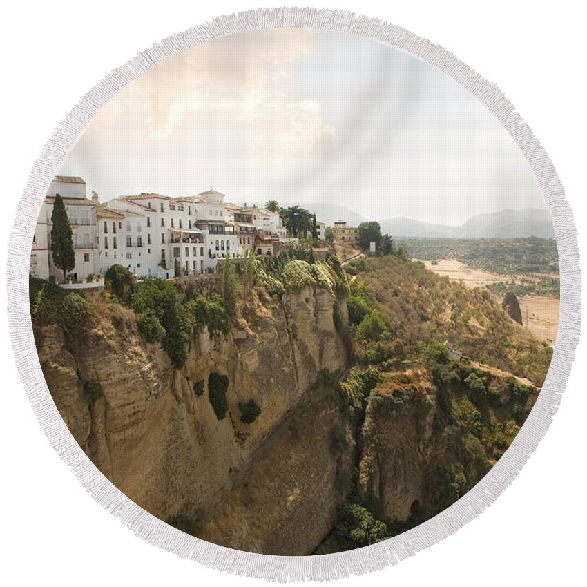 Ronda Round Beach Towel featuring the photograph View Over The Tajo Gorge Ronda Home Of Bullfighting by Mal Bray