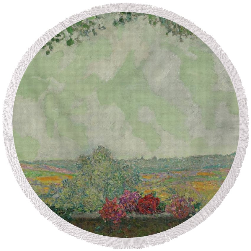 Henri Le Sidaner 1862 - 1939 View Terrace Round Beach Towel featuring the painting View Terrace by Henri Le Sidaner