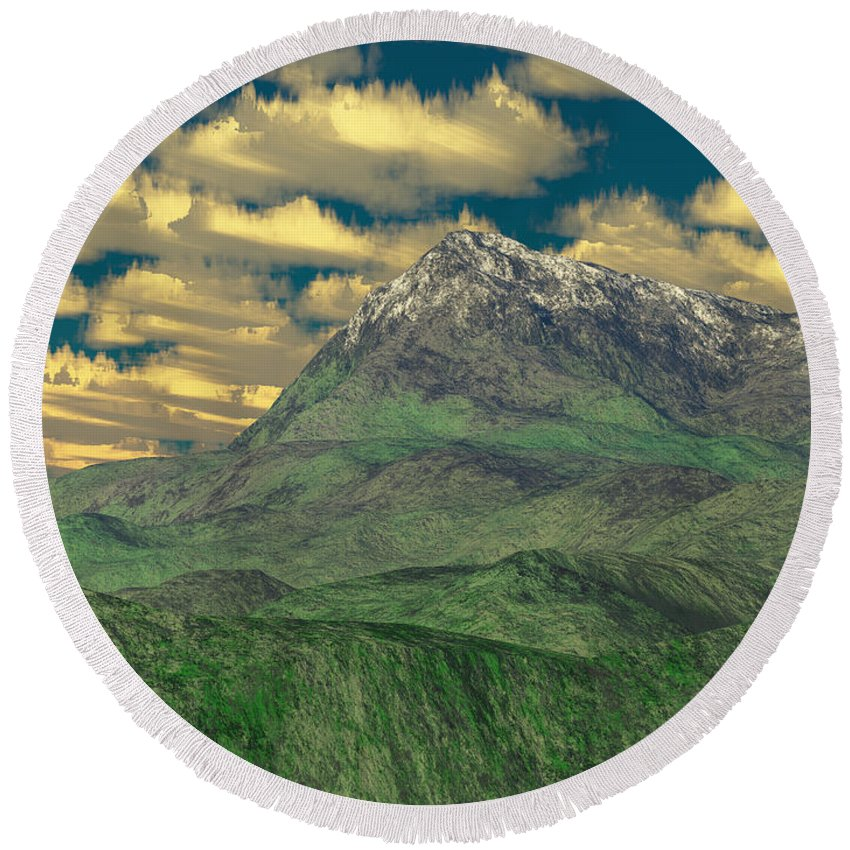 Digital Art Round Beach Towel featuring the digital art View To The Mountain by Gaspar Avila