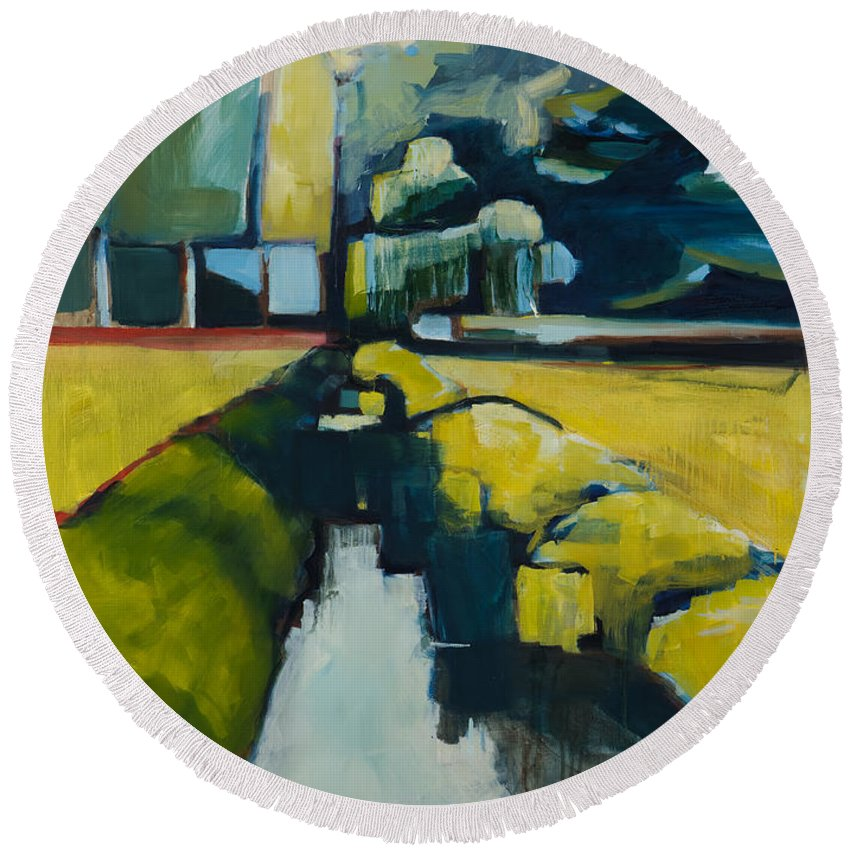 Contemporary Landscape Round Beach Towel featuring the painting Viewpoint by Michele Norris