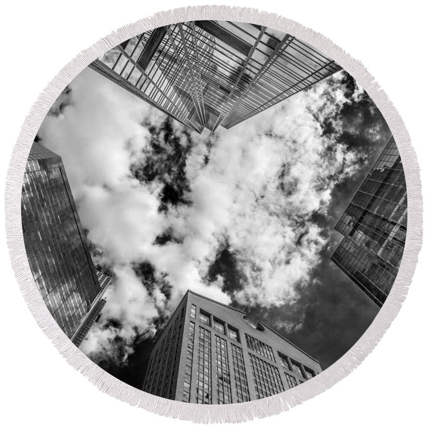 New York Round Beach Towel featuring the photograph Views Of New York. by David Hare