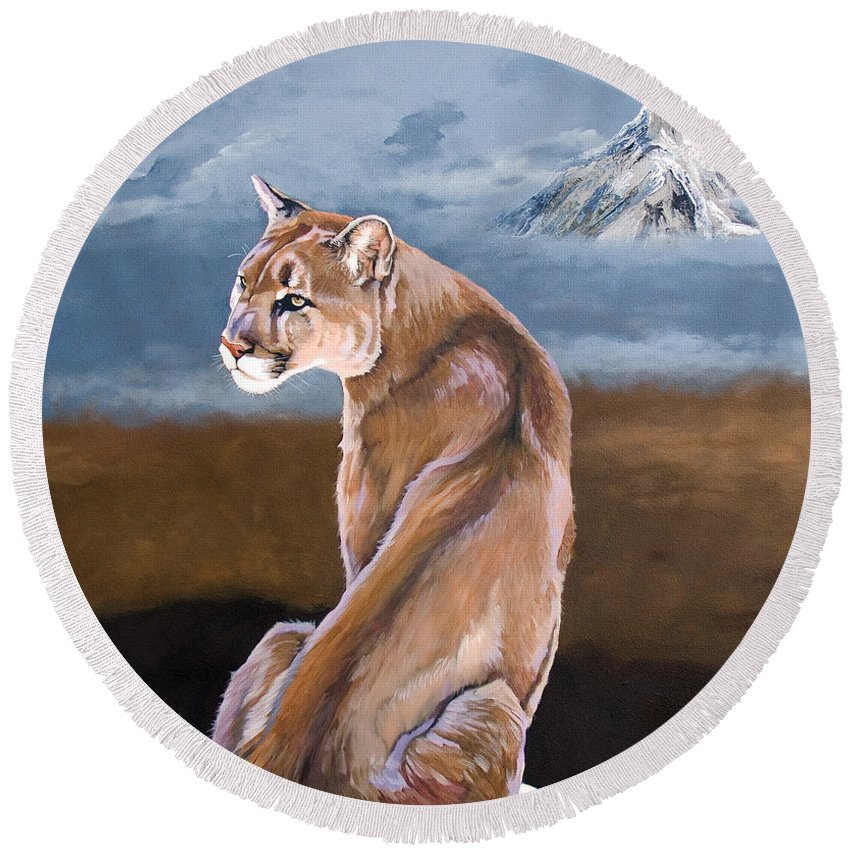 Indigenous Wildlife Round Beach Towel featuring the painting Vigilance by J W Baker