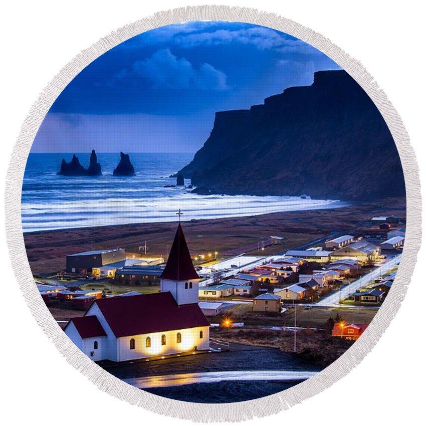 Iceland Round Beach Towel featuring the photograph Vik Iceland by Mariusz Czajkowski