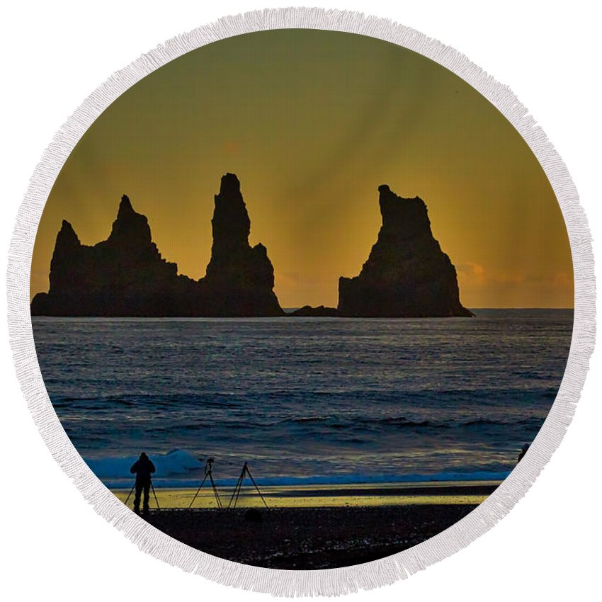 Iceland Round Beach Towel featuring the photograph Vik Sea Stacks At Dusk - Iceland by Stuart Litoff