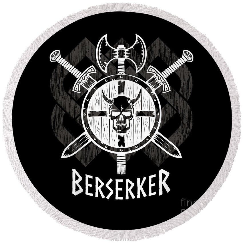 Viking Berserker Old Norse Wild Warrior Round Beach Towel For Sale