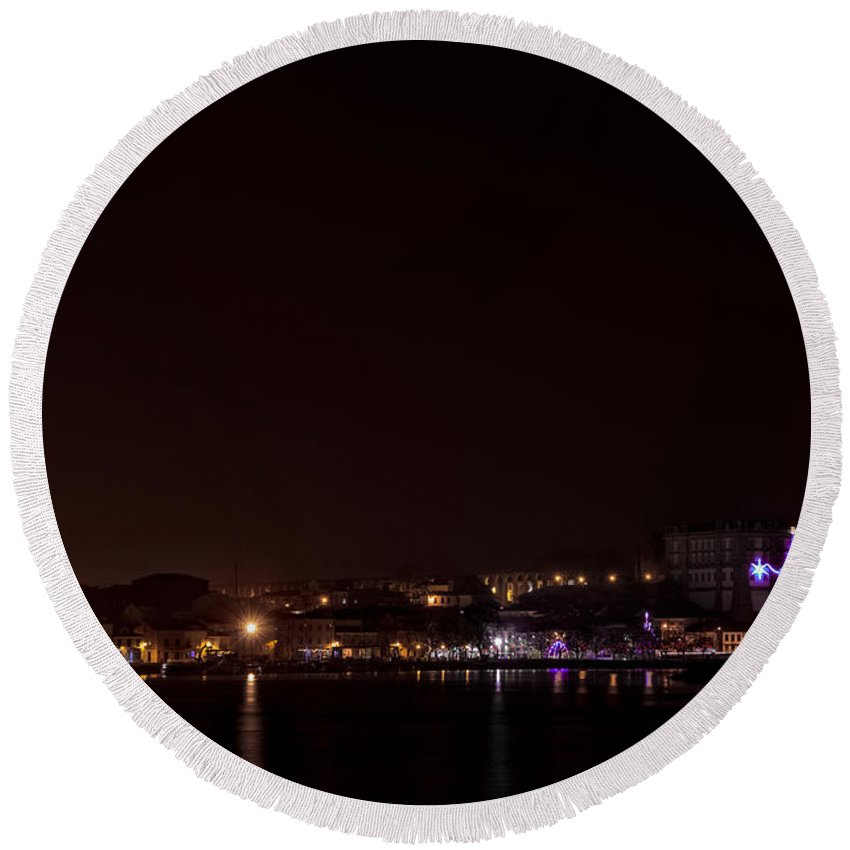 Porto Round Beach Towel featuring the photograph Vila Do Conde At Night by Paulo Goncalves
