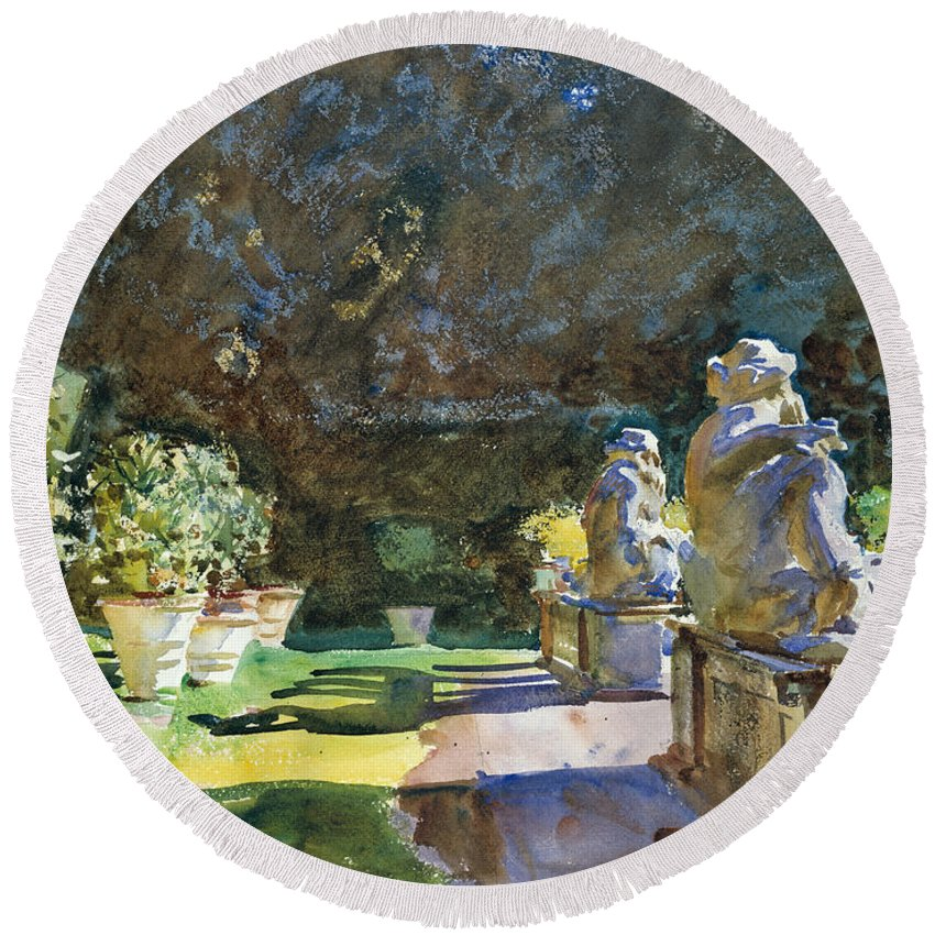 Sargent Round Beach Towel featuring the painting Villa Di Marlia Lucca by John Singer Sargent