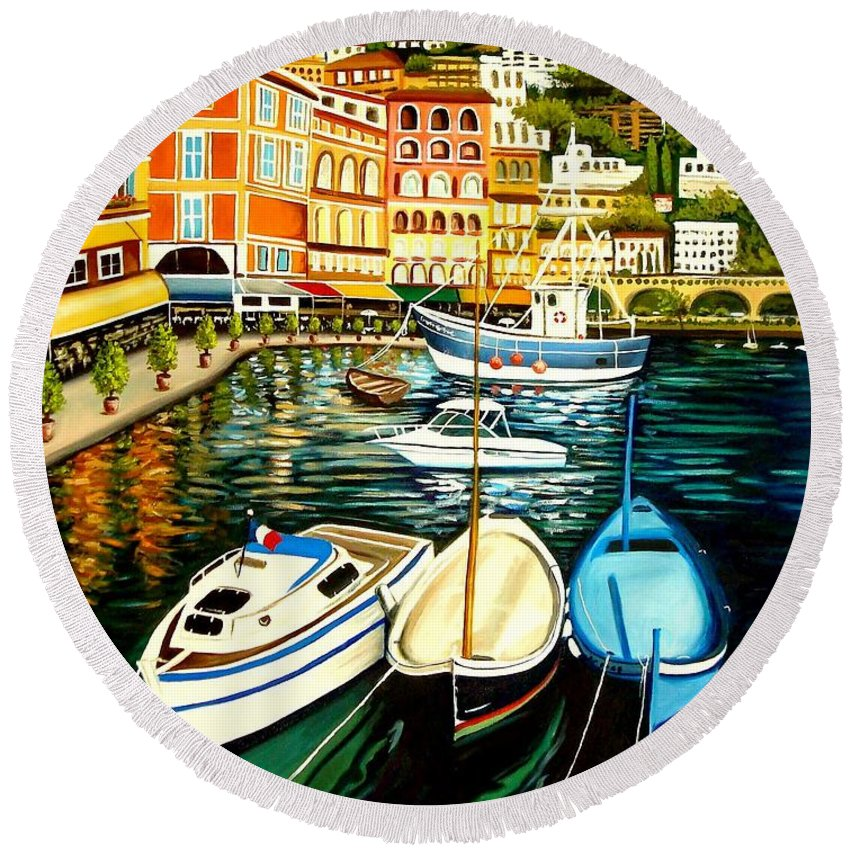 Landscape Round Beach Towel featuring the painting Villa Franche by Elizabeth Robinette Tyndall