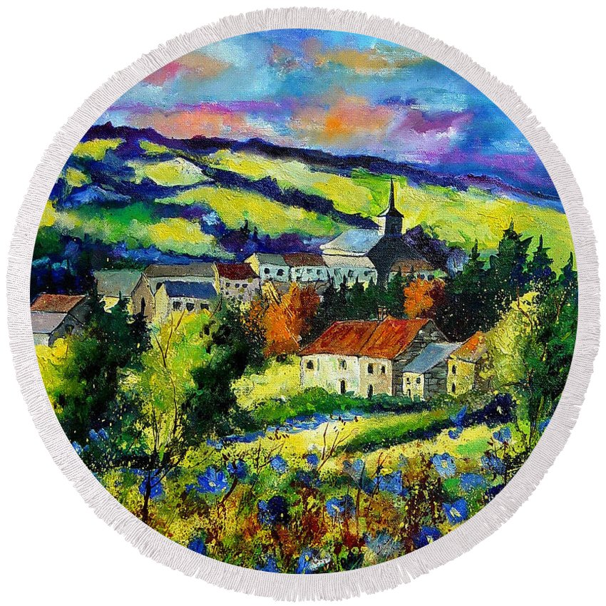 Landscape Round Beach Towel featuring the painting Village And Blue Poppies by Pol Ledent
