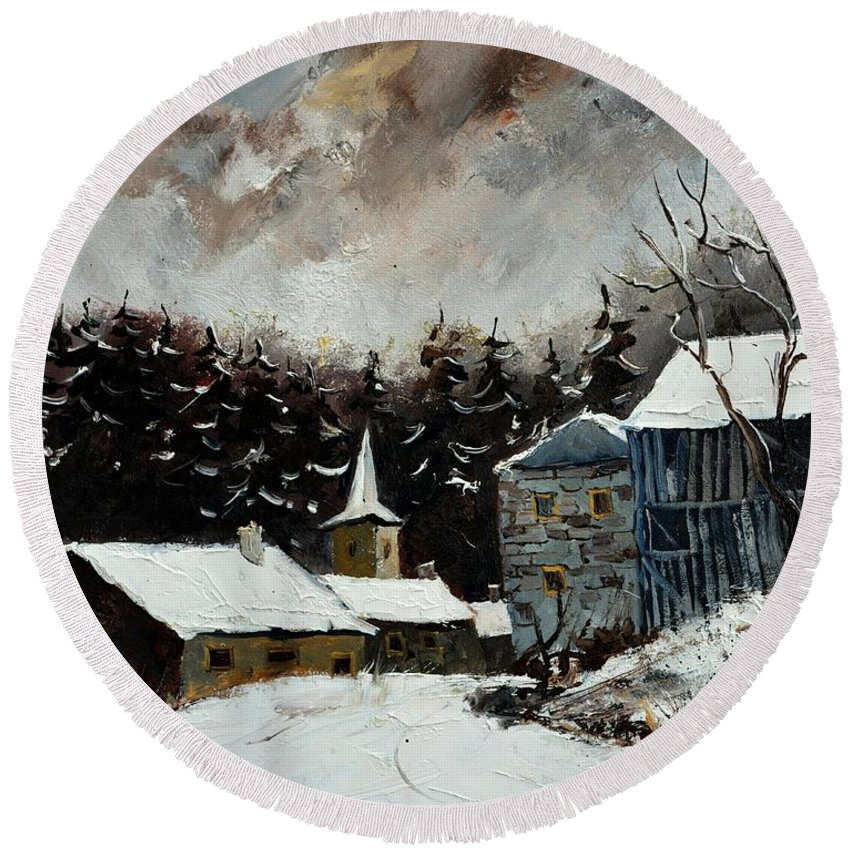 Landscape Round Beach Towel featuring the painting Village Ardenne 5451 by Pol Ledent
