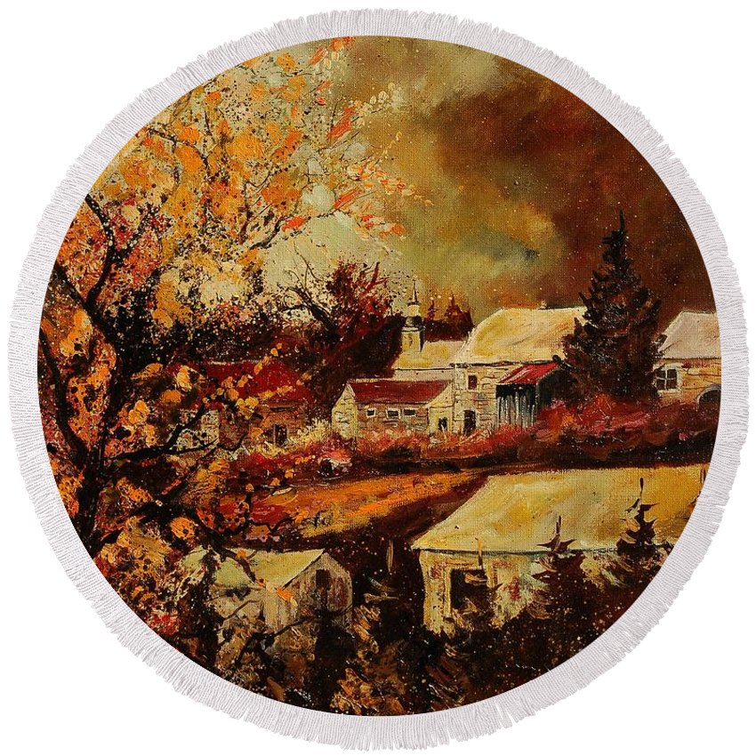Tree Round Beach Towel featuring the painting Village Curfoz by Pol Ledent