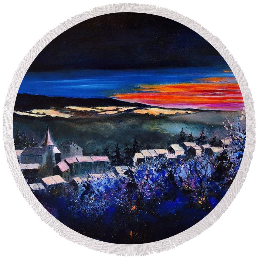 Landscape Round Beach Towel featuring the painting Village In A Winter Morninglight by Pol Ledent