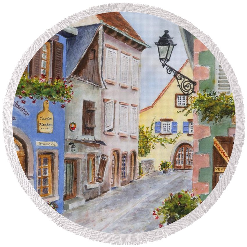 Village Round Beach Towel featuring the painting Village In Alsace by Mary Ellen Mueller Legault