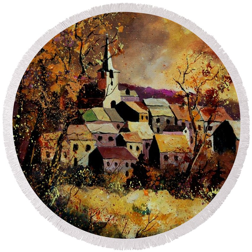 River Round Beach Towel featuring the painting Village In Fall by Pol Ledent