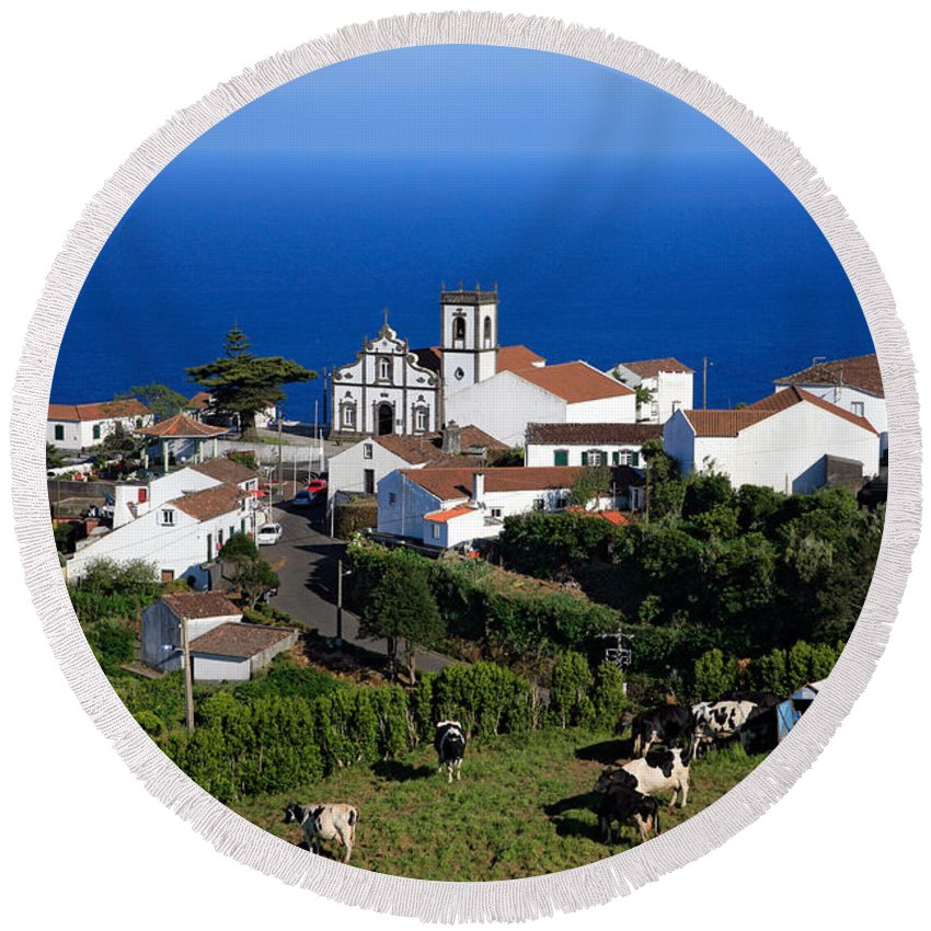 Azores Round Beach Towel featuring the photograph Village In The Azores by Gaspar Avila