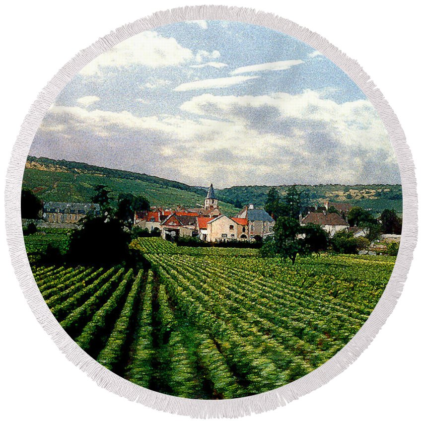 Vineyards Round Beach Towel featuring the photograph Village In The Vineyards Of France by Nancy Mueller