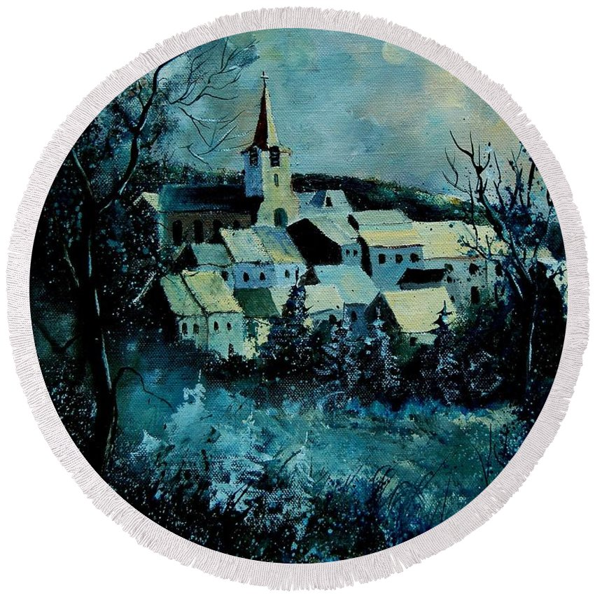 River Round Beach Towel featuring the painting Village In Winter by Pol Ledent