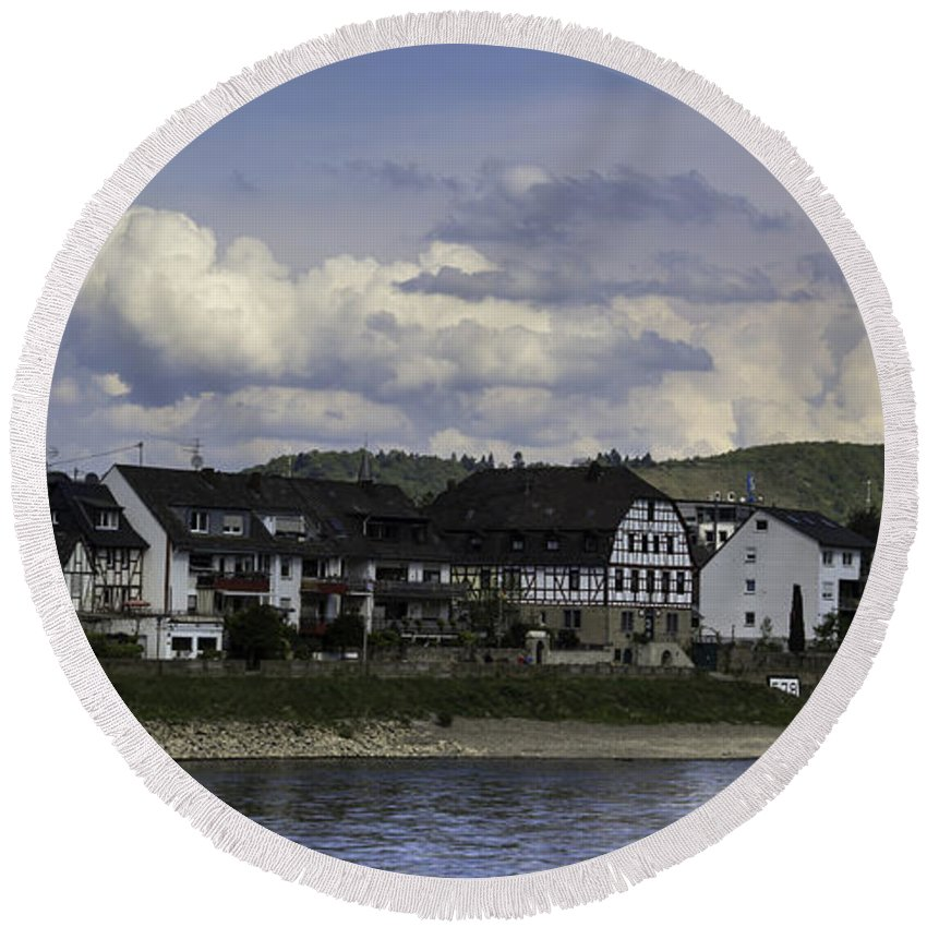 Teresa A Mucha Round Beach Towel featuring the photograph Village Of Spay And Marksburg Castle by Teresa Mucha