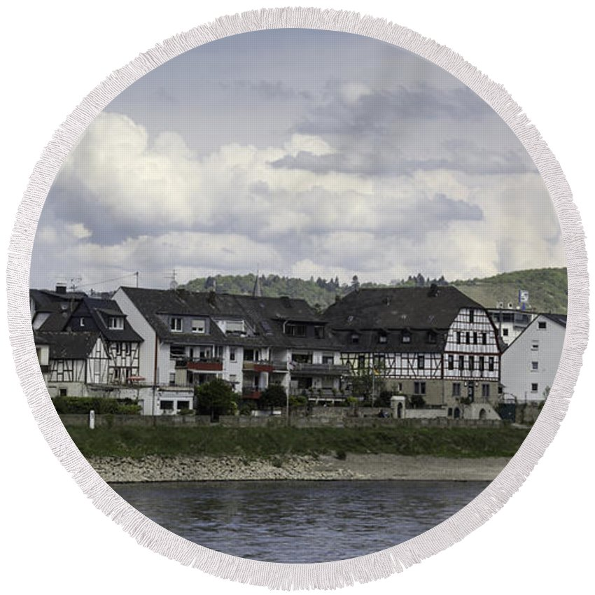 Teresa A Mucha Round Beach Towel featuring the photograph Village Of Spay Germany And Marksburg Castle by Teresa Mucha
