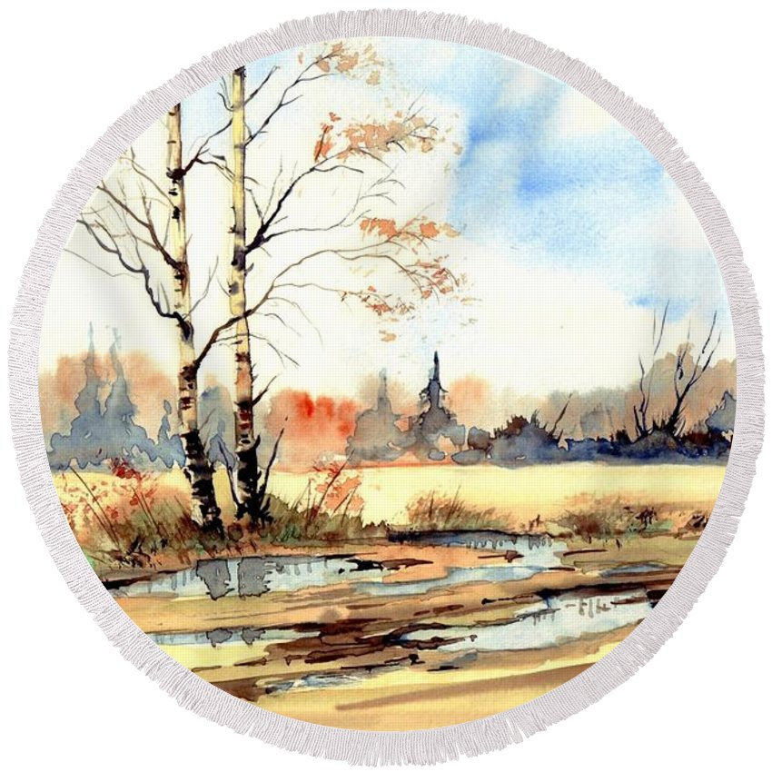 Village Round Beach Towel featuring the painting Village Scene I by Suzann Sines