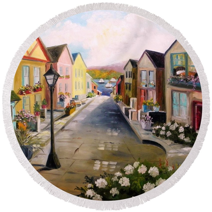 Village Round Beach Towel featuring the painting Village Street by John Williams