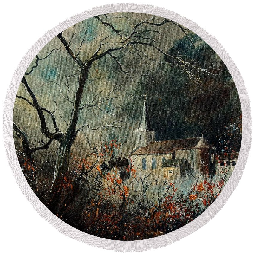 Tree Round Beach Towel featuring the painting Village Vivy by Pol Ledent