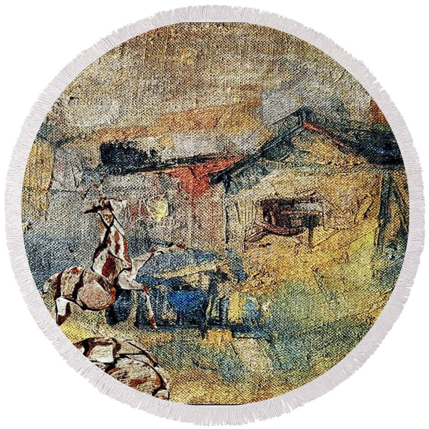 Impressionism Round Beach Towel featuring the mixed media Village Zone 1 by Pemaro