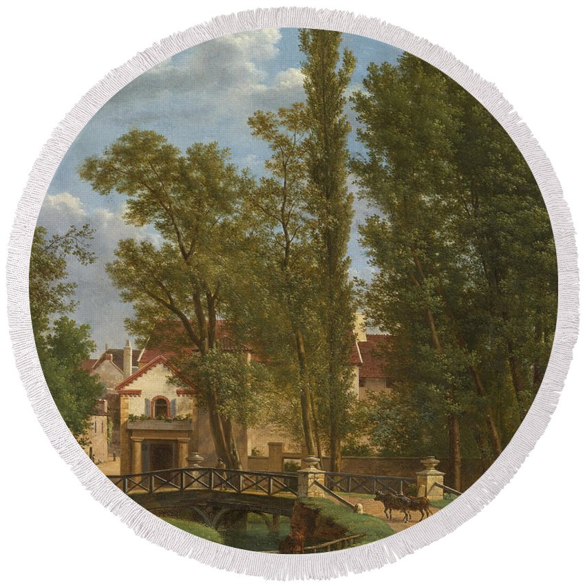 Jean-joseph-xavier Bidauld Round Beach Towel featuring the painting Villagers And Animals In A Landscape Beside A Bridge At The Entrance Of A Village by Jean-Joseph-Xavier Bidauld