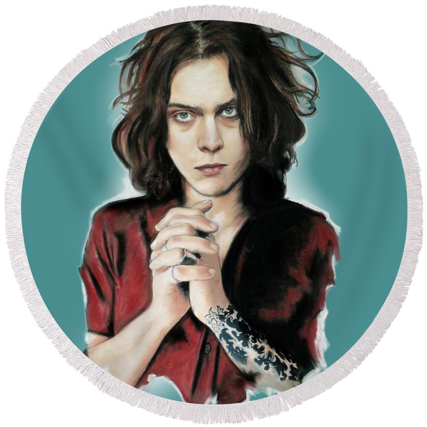 Ville Valo Round Beach Towel featuring the mixed media Ville Valo by Melanie D