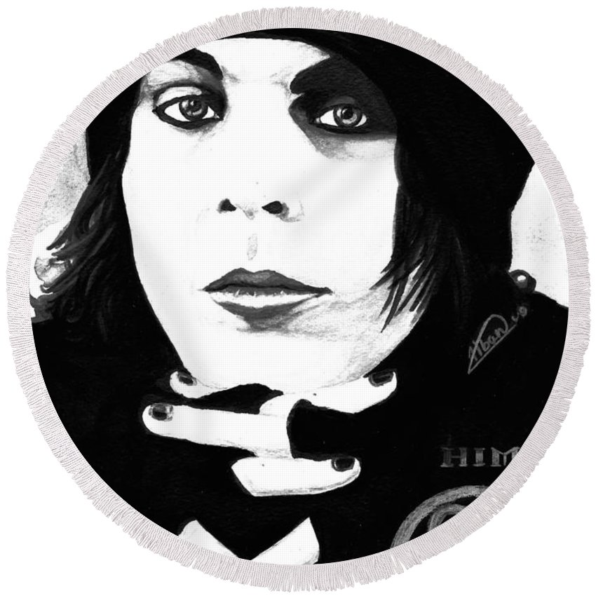 Ville Valo Round Beach Towel featuring the painting Ville Valo Portrait by Alban Dizdari
